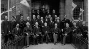Opening day, Brentford Library , 9 May 1904, Andrew Carnegie is 4th from left in the front row with Thomas Layton to his left