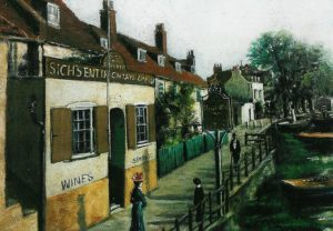 Bull's Head, Strand on the Green, 1910 with Sich livery. C W Moore (Chiswick Local Studies Collection L B Hounslow)