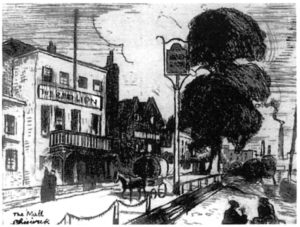 The Red Lion and Chiswick Drawdock, 1931, etching by Ludovic-Rodo Pissarro