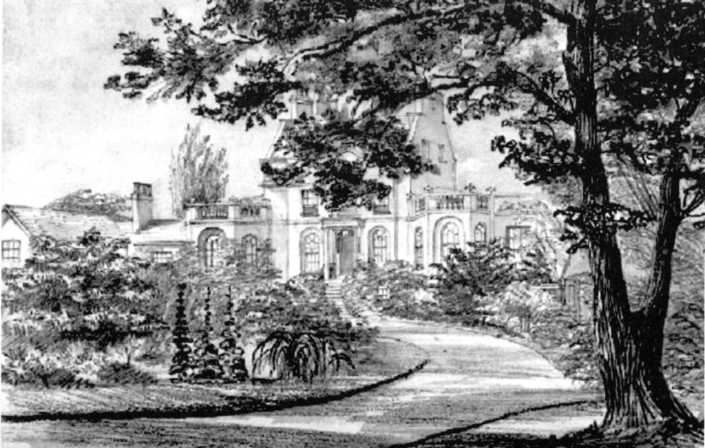 Bedford House probably, sketched by Henry Crease in the 1850s. It shows the broad sweep of the carriageway leading from the common to the front entra ce. The garden, tightly packed with perennials, shrubs and exotic specimens, is overblown and magnificent, befitting a botanist of Lindley's inclinations (BC Archives pdp 4541)