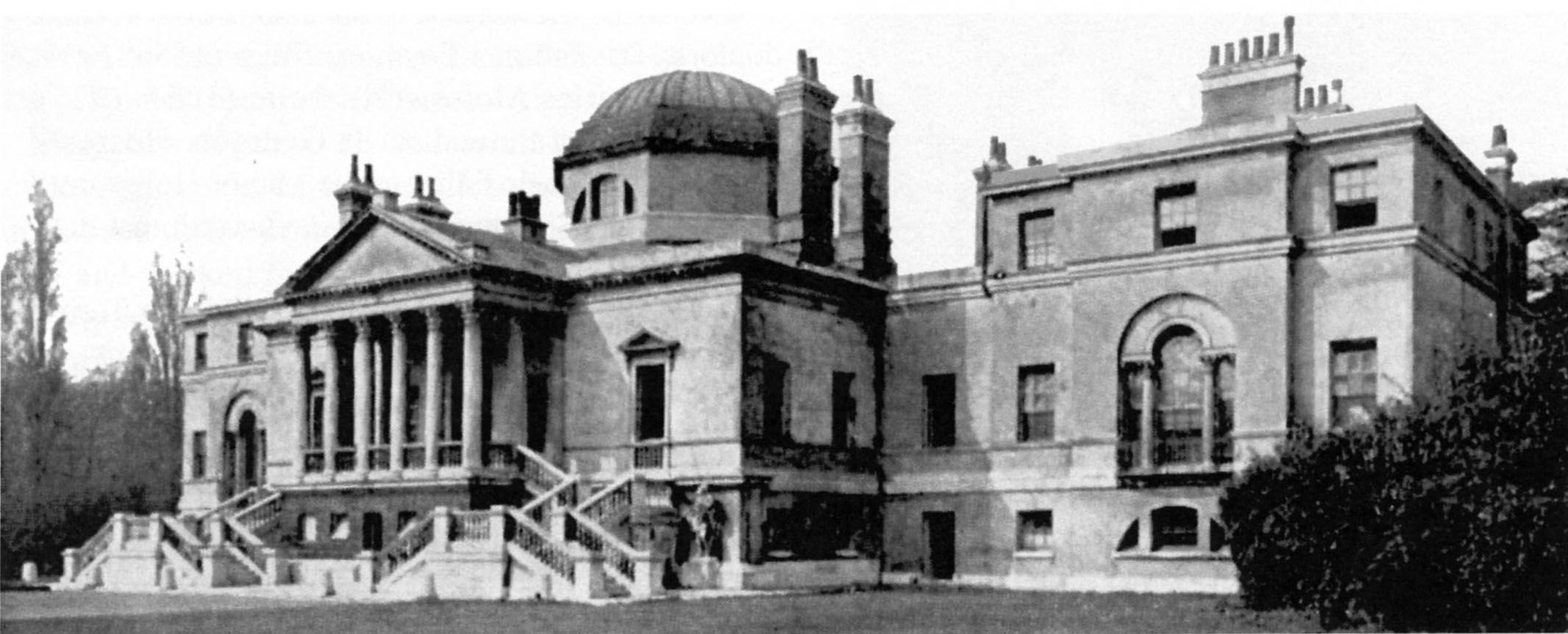 Chiswick House when it was the Asylum. Note:the two wings were demolished in the 1950s