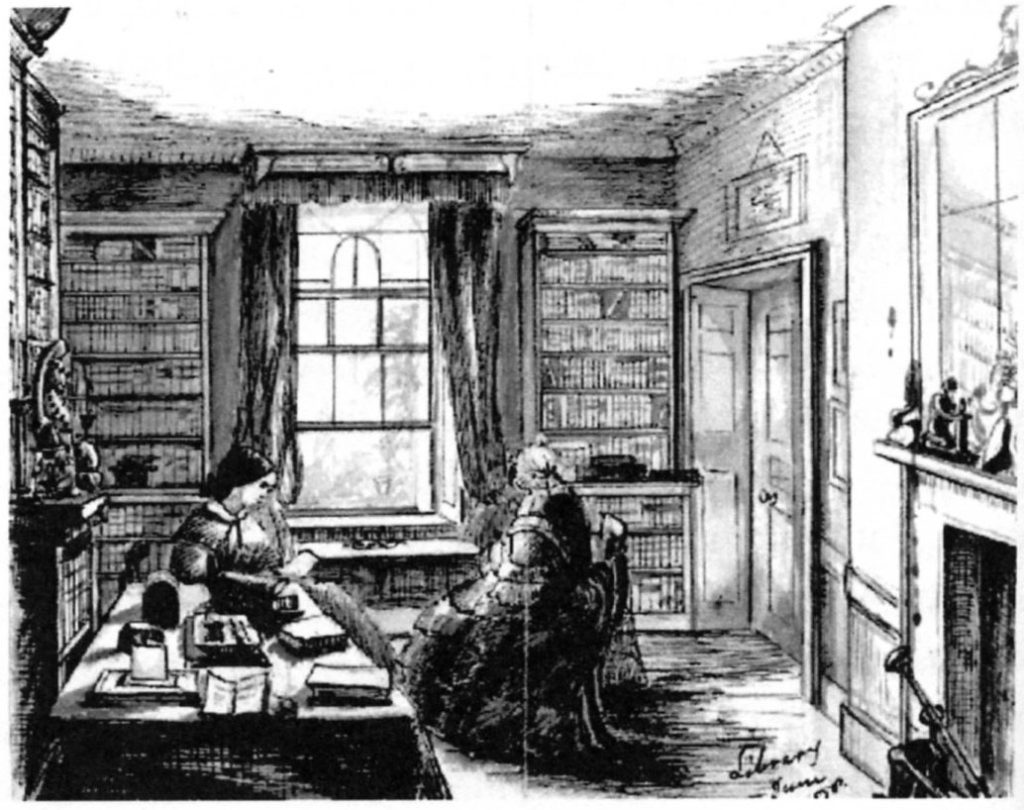 The library in the Lindley home, sketched by Sarah Crease in 1858. Sarah is shown on the left with an open box of Henry's letters on a table. Her mother sits beside her facing the open window. The books on the walls are almost certainly part of Lindley's own library which formed the core of the Royal Horticultural Society's library (BC Archives pdp3129)